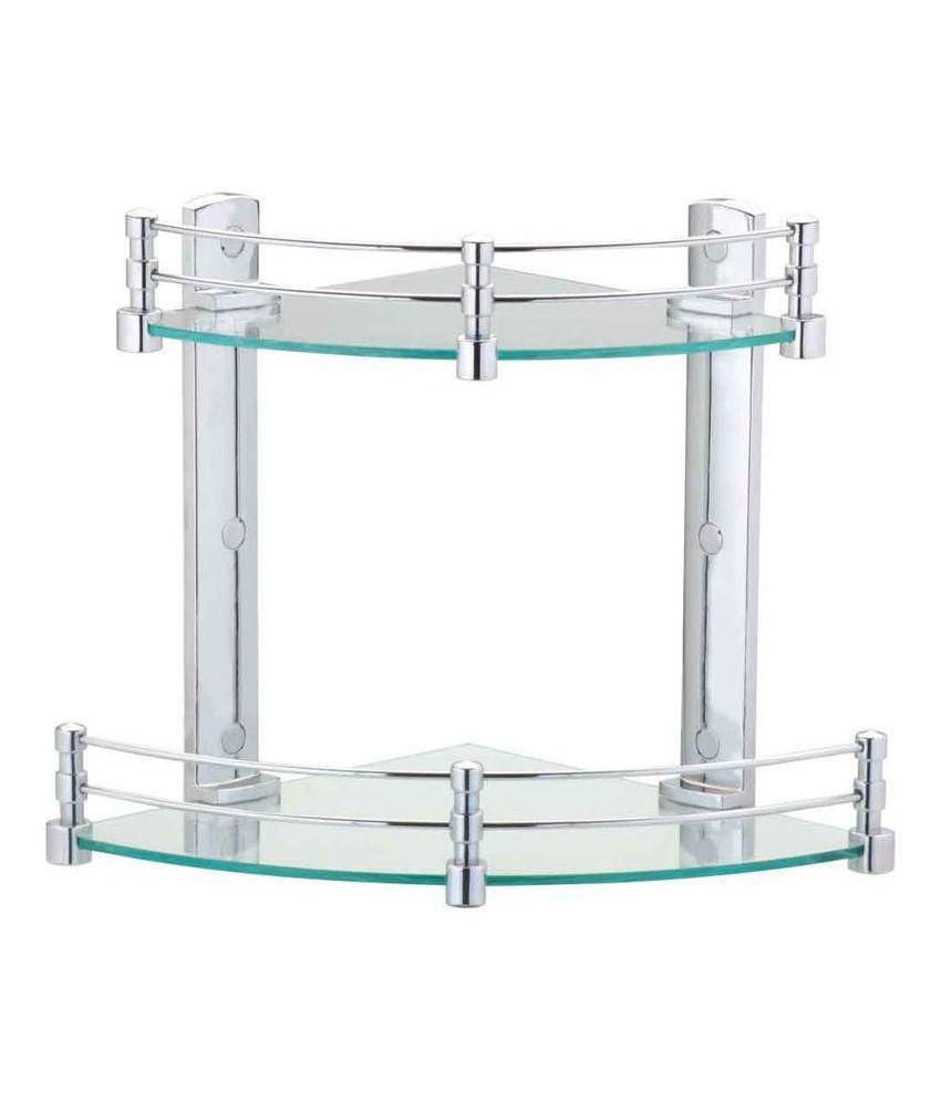 alpina elegant double corner glass shelf rack buy alpina elegant rh snapdeal com