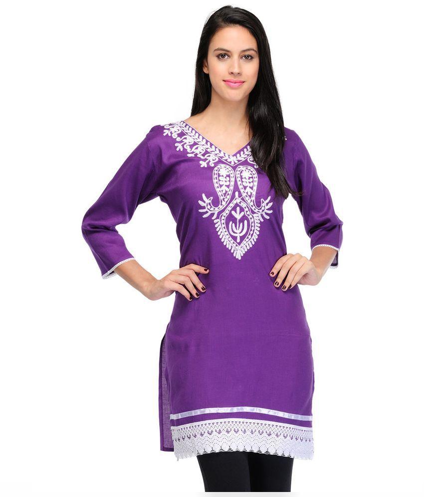 Asha Fashion Purple Poly Rayon Straight Kurti
