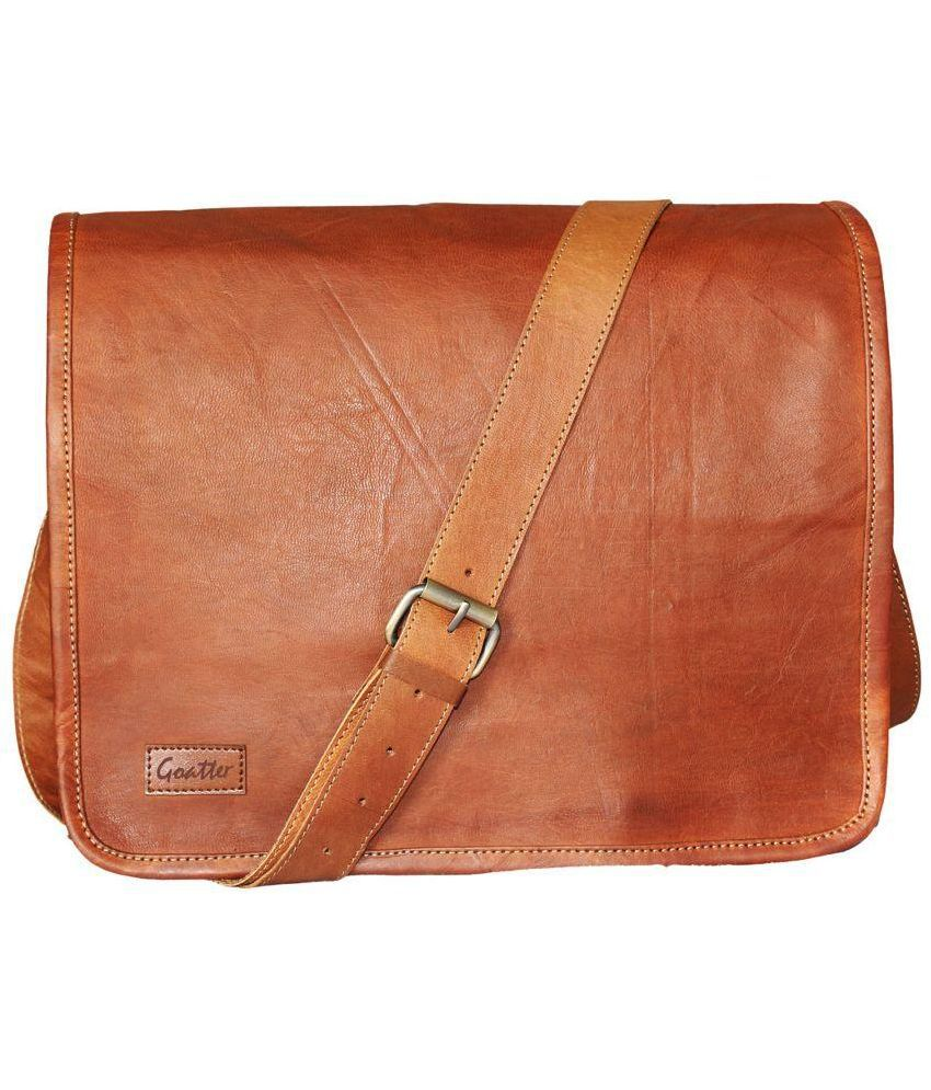 Goatter Leather Messenger Bag ( Light Brown ) Tan Leather Casual ...
