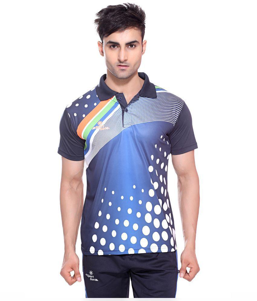 Sport Sun Multicolour Polyester Cricket Polo T-Shirt for Men