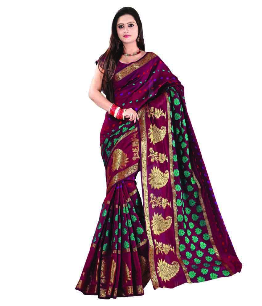 V3 Fashion Studio Purple Silk Saree