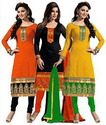 Vr Fashion Multicoloured Cotton Straight Unstitched Dress Material