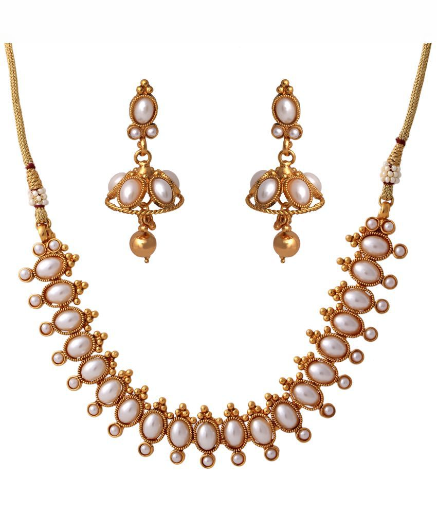 Abhijewels Alloy Gold Plated Studded Golden Coloured Necklace Set