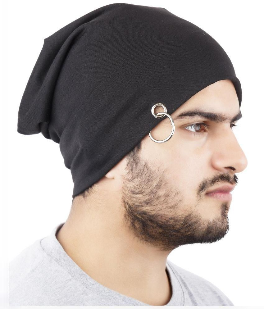 7875bf160 Fancydresswale Black Cotton Beanie Cap for Men - Buy Online @ Rs ...