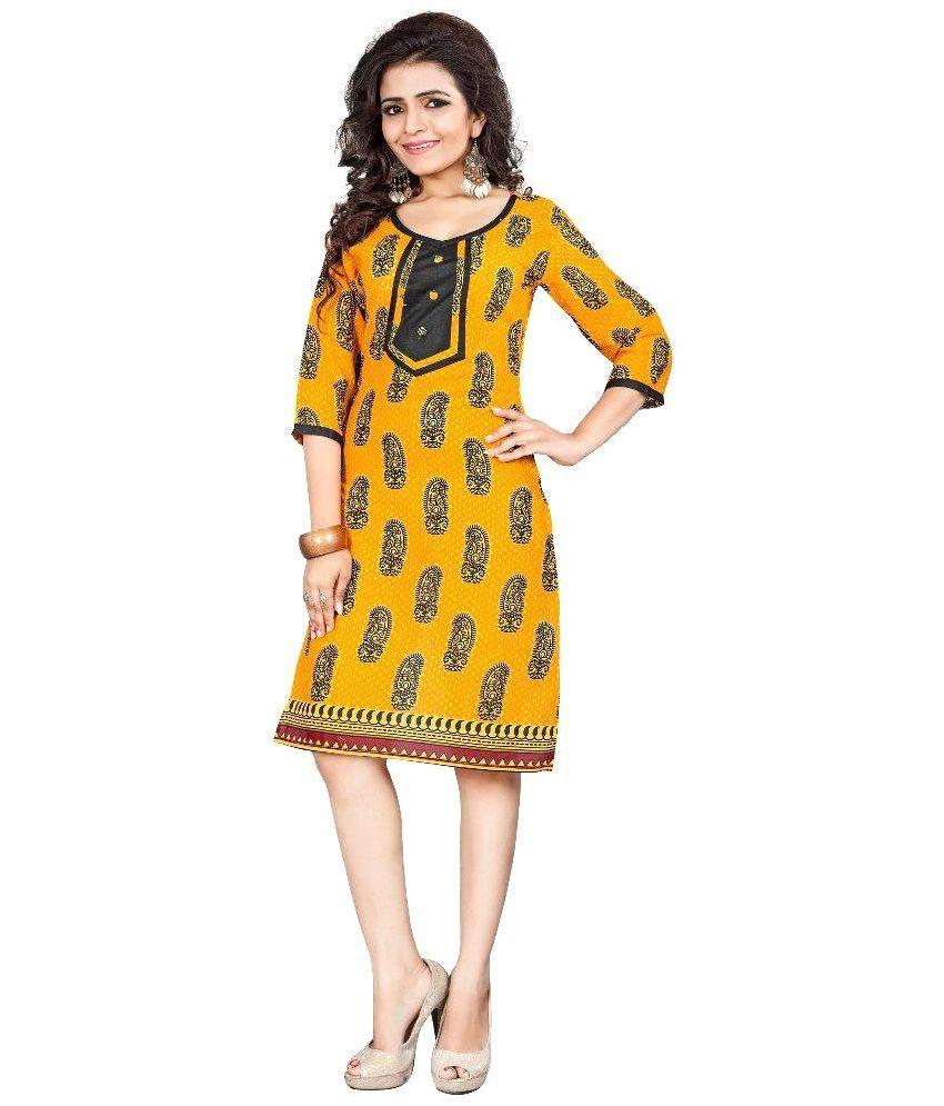 Kavvya Fashion Yellow Cotton Straight Kurti
