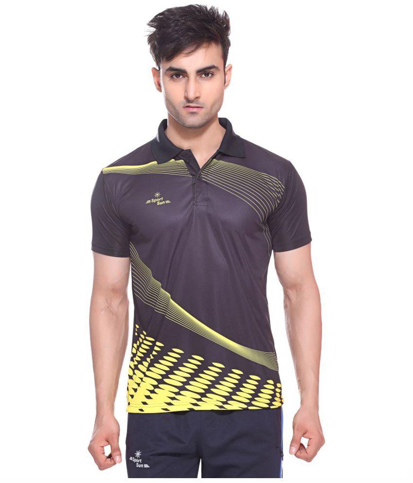 Sport Sun Polyster Printed Black Polo T-Shirt
