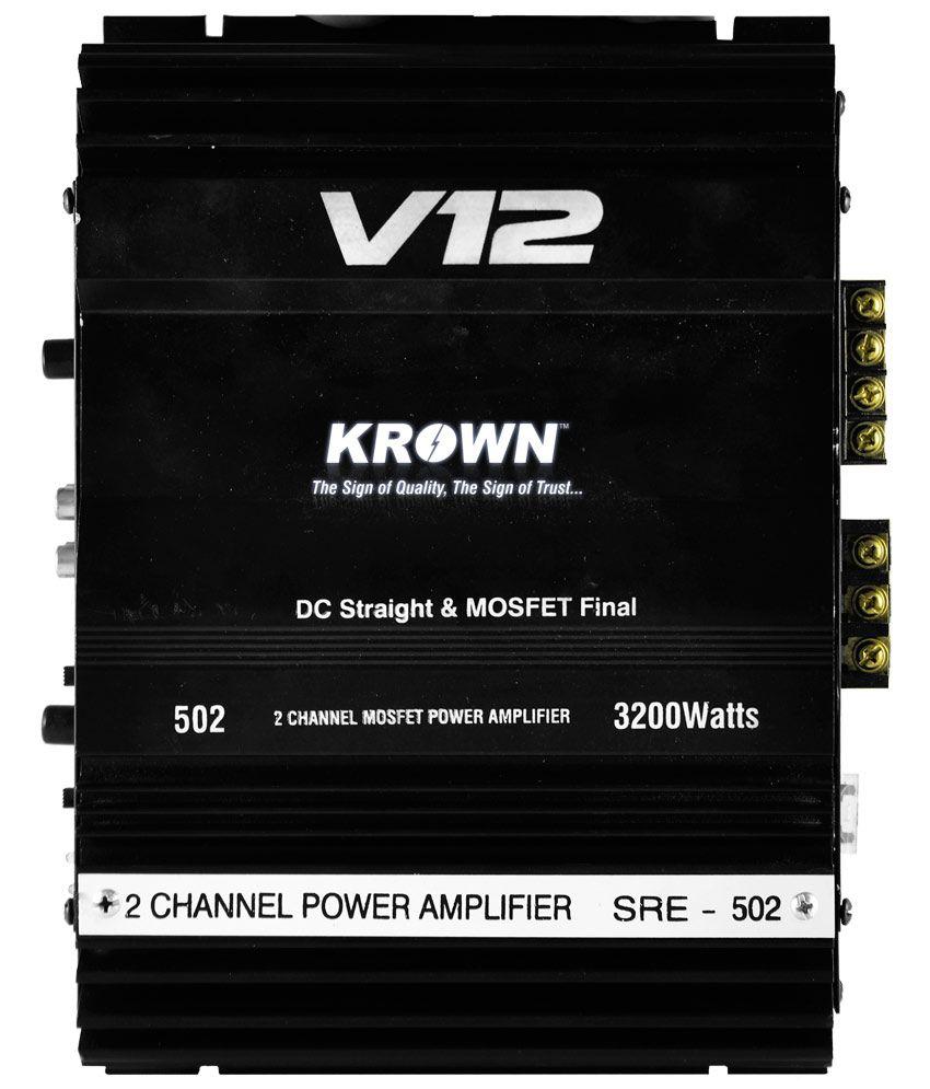 Krown SRE-502 2 Channel Power Car Amplifier- 3200Watts