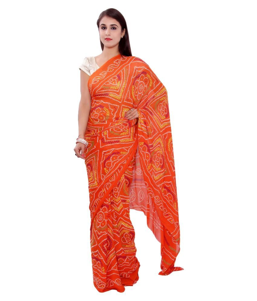 S.R.Agencies Orange Crepe Saree