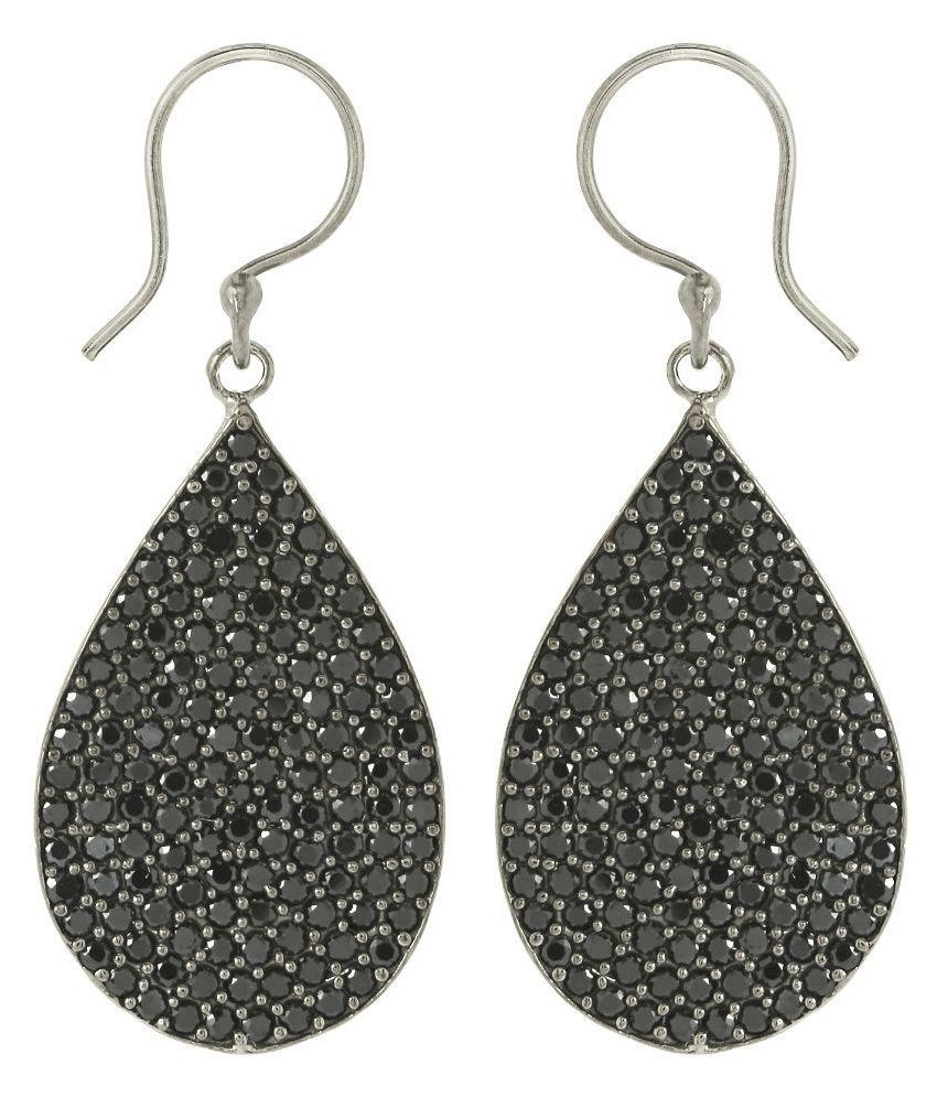 Shine Jewel Round Large Drop Spinel Silver Earring