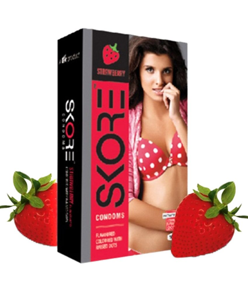 Skore Strawberry Flavor Condoms Monthly Combo