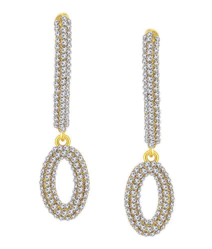 Sukkhi Alloy Gold Plating Austrian Diamond Studded Gold Coloured Earrings