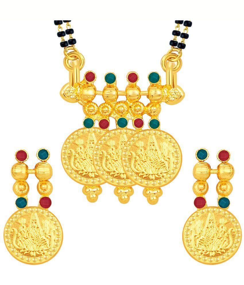 Sukkhi Alloy Gold Plating Studded Gold Coloured Mangalsutra Set