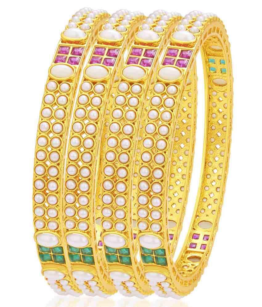 Sukkhi Alloy Gold Plating Studded Gold Coloured Bangle Set