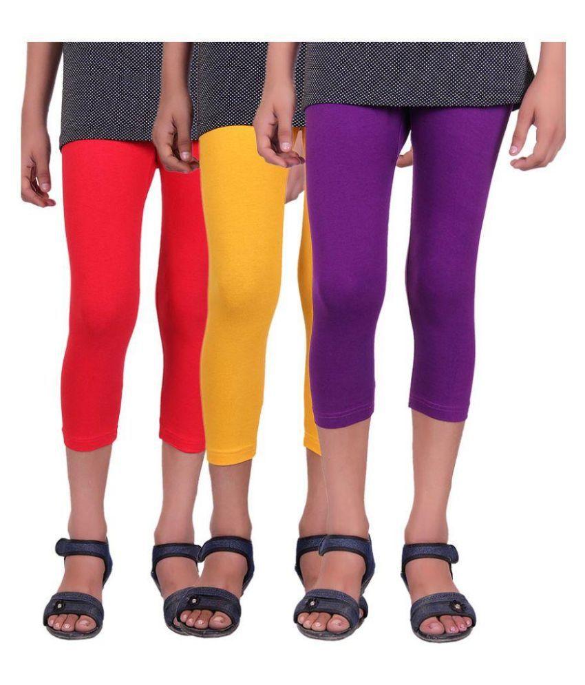 Alisha Cotton Multicolor Capri - Pack of 3