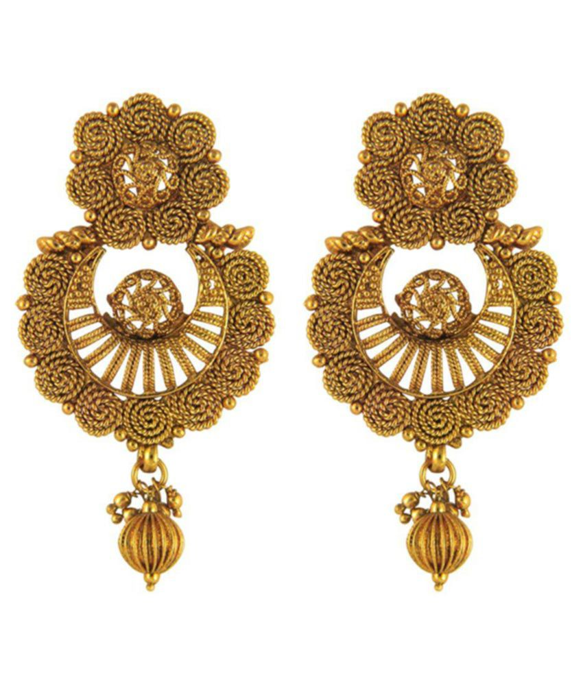 Donna Brass Gold Plating Crystal Studded Gold Colored Earrings