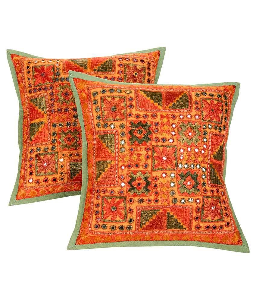 Rajrang Multicolor Cotton Cushion Cover - Set of 2