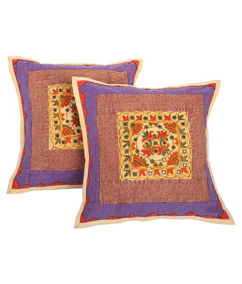 Rajrang Multicolor Cotton Cushion Covers - Set of 2
