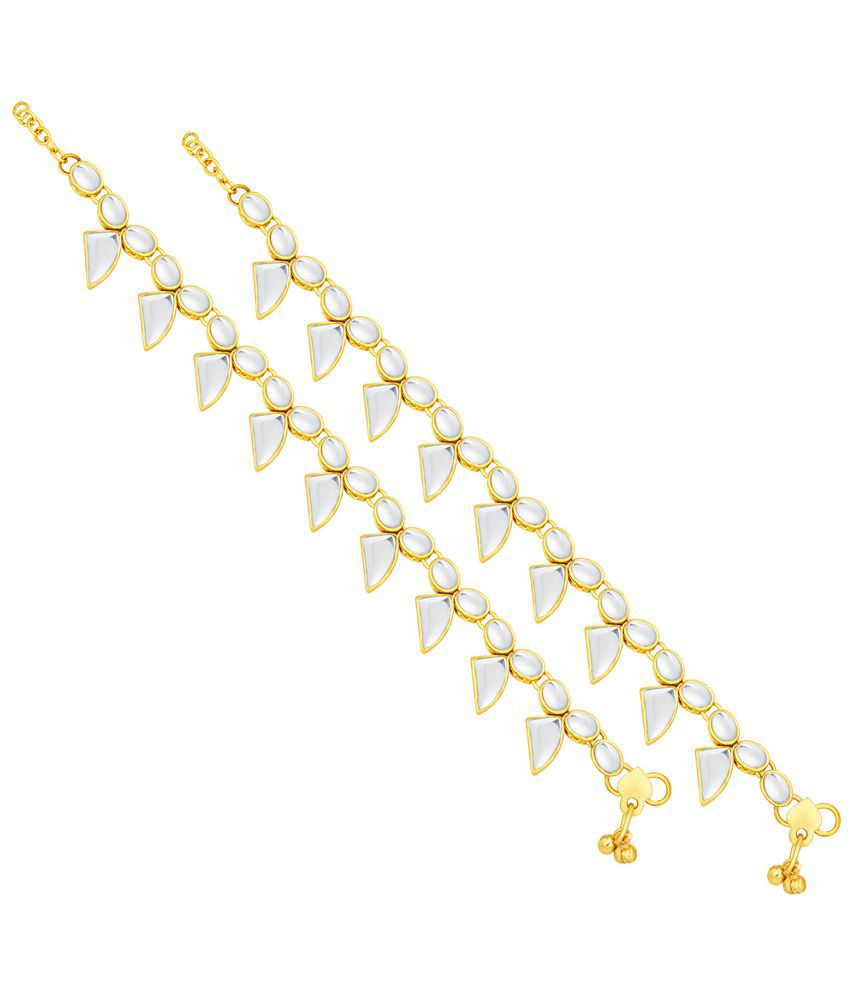 Sukkhi Alloy Gold Plating Studded Gold Coloured Pair Of Anklets