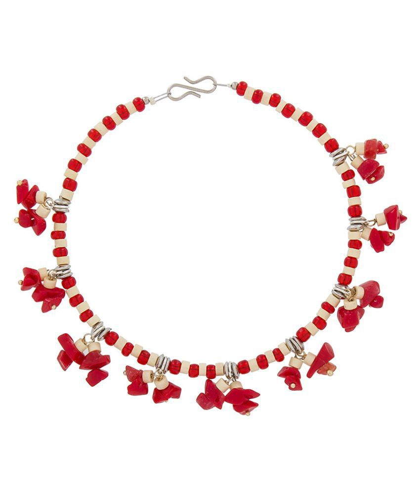 The Luxor Beads Studded Red Coloured Pair Of Anklets