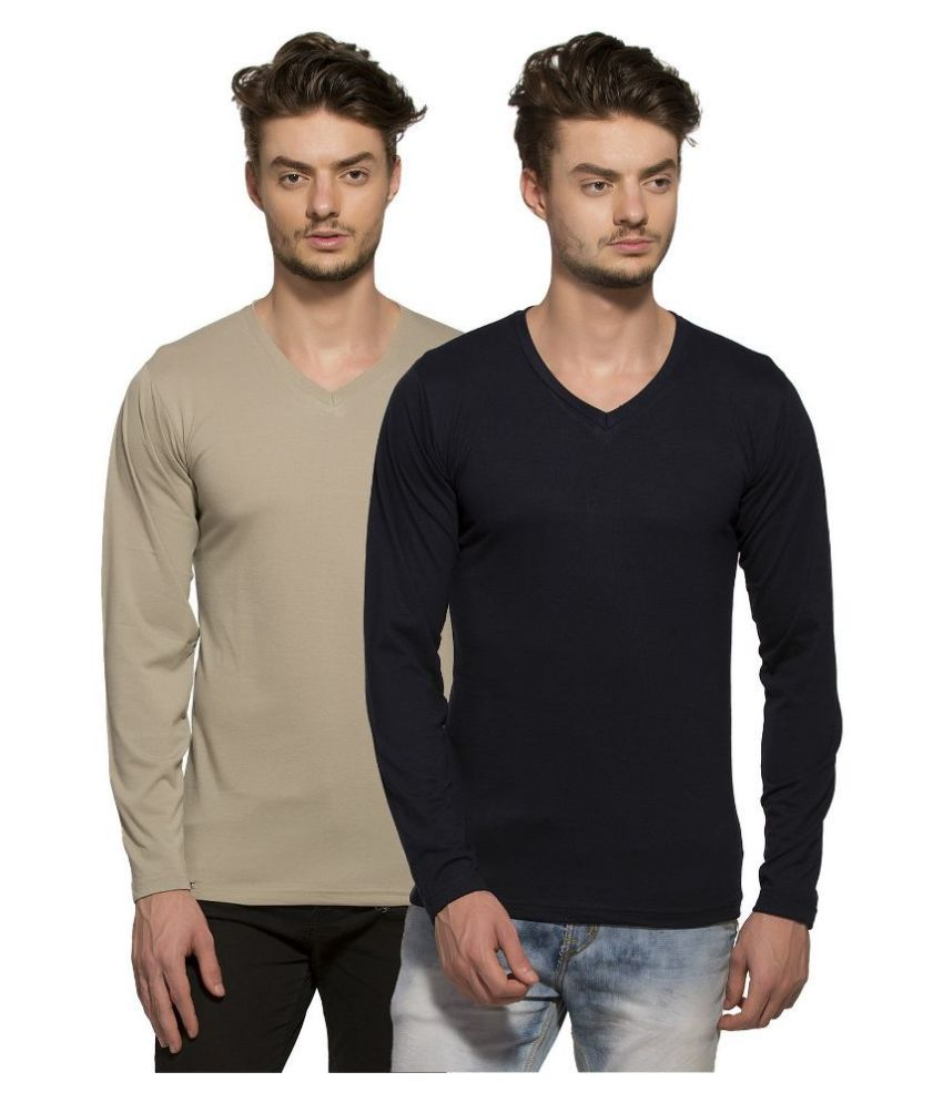 Alan Jones Clothing Multi V-Neck T Shirt Pack of 2
