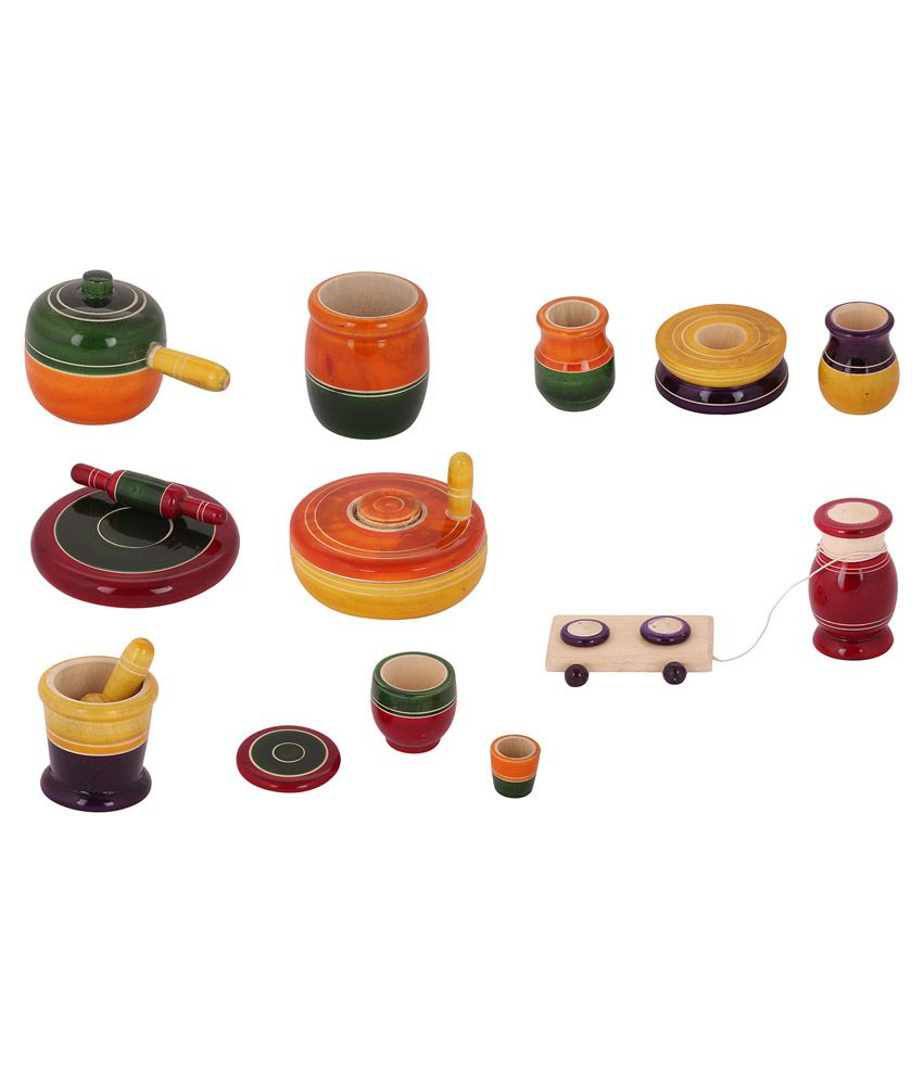 Buddha crafts multicolour wooden kitchen set buy buddha crafts multicolour wooden kitchen set online at low price snapdeal
