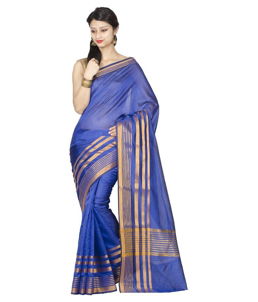 Chandrakala Blue and Beige Art Silk Saree