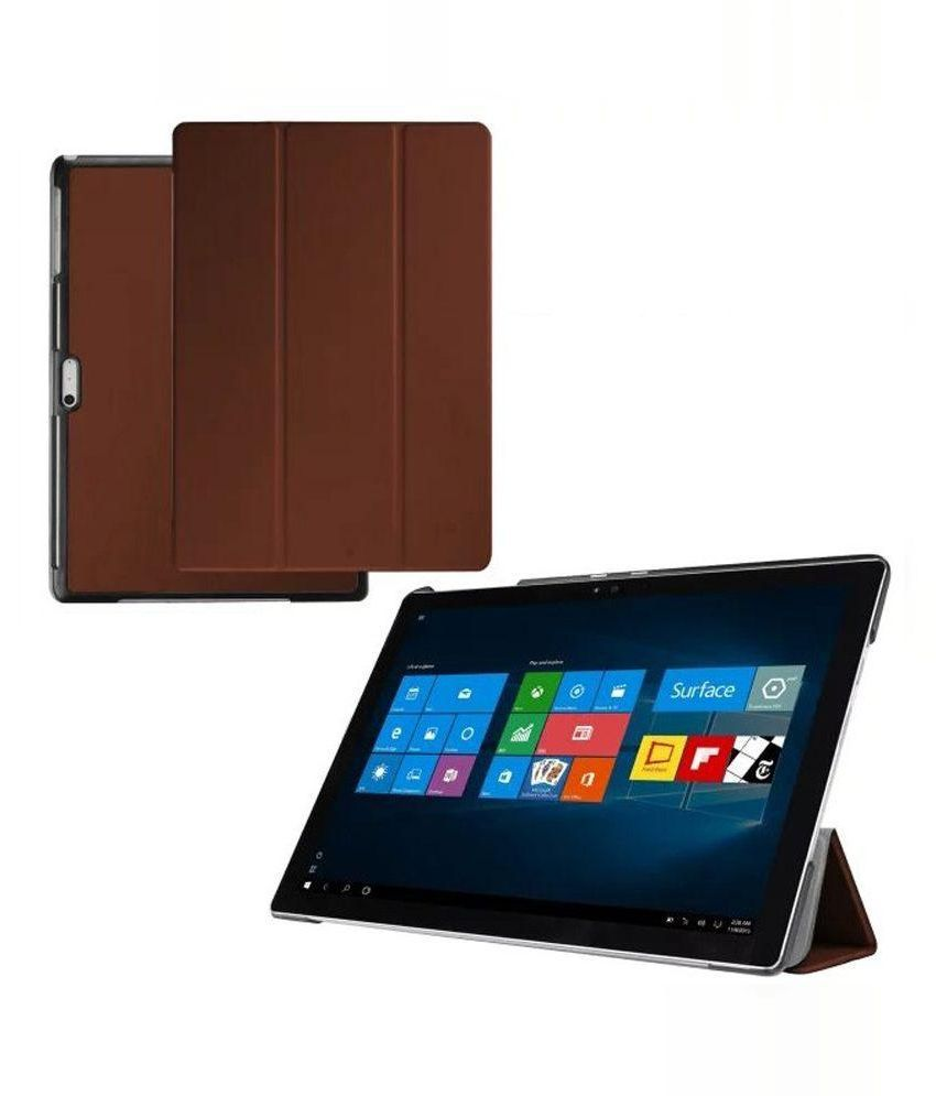 heartly flip cover for microsoft surface pro 4 brown cases