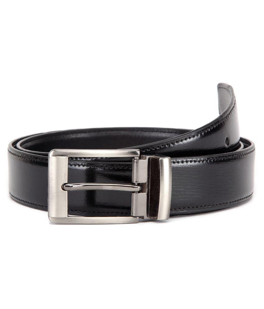 U+N Black Genuine Leather Classic Formal Belt for Men C02