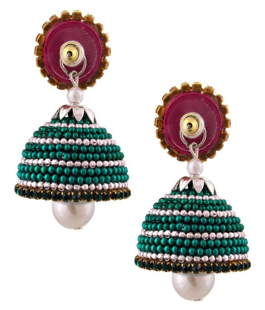 Yogya Mart Beads Studded Green Coloured Earrings