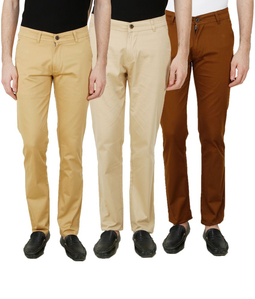 Ansh Fashion Wear Multi Regular Fit Chinos Pack of 3