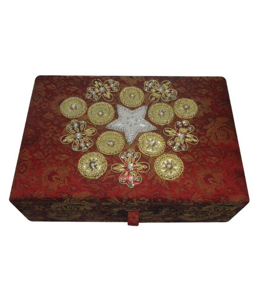 Avinash Handicrafts Wooden Maroon Coloured Jewellery Box