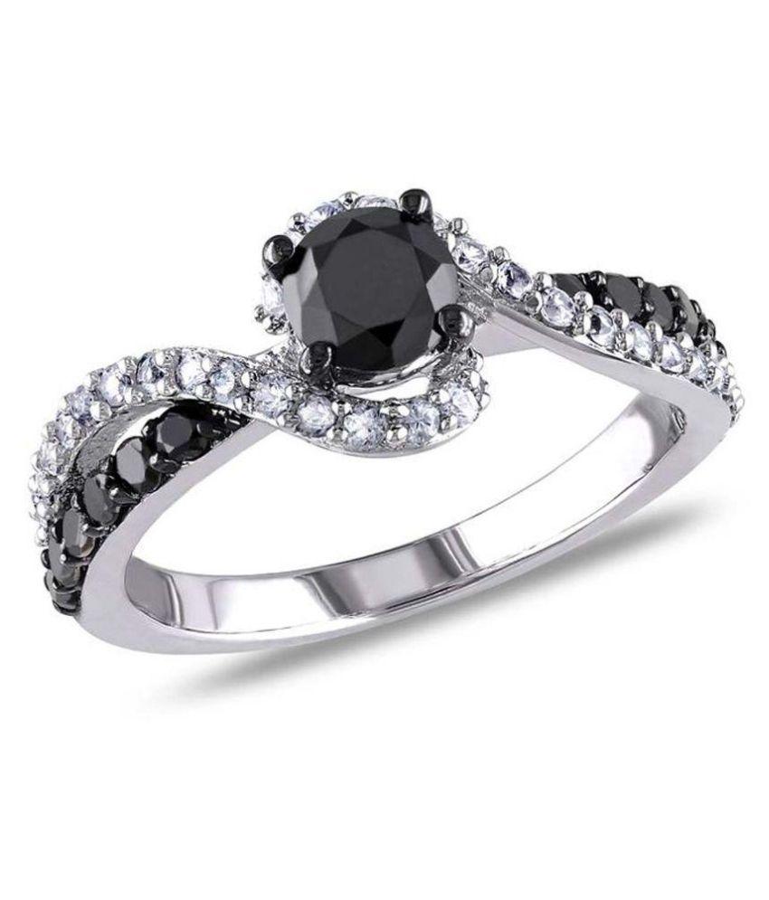 Kiara Jewellery 92.5 Sterling Silver Swarovski Signity Ring