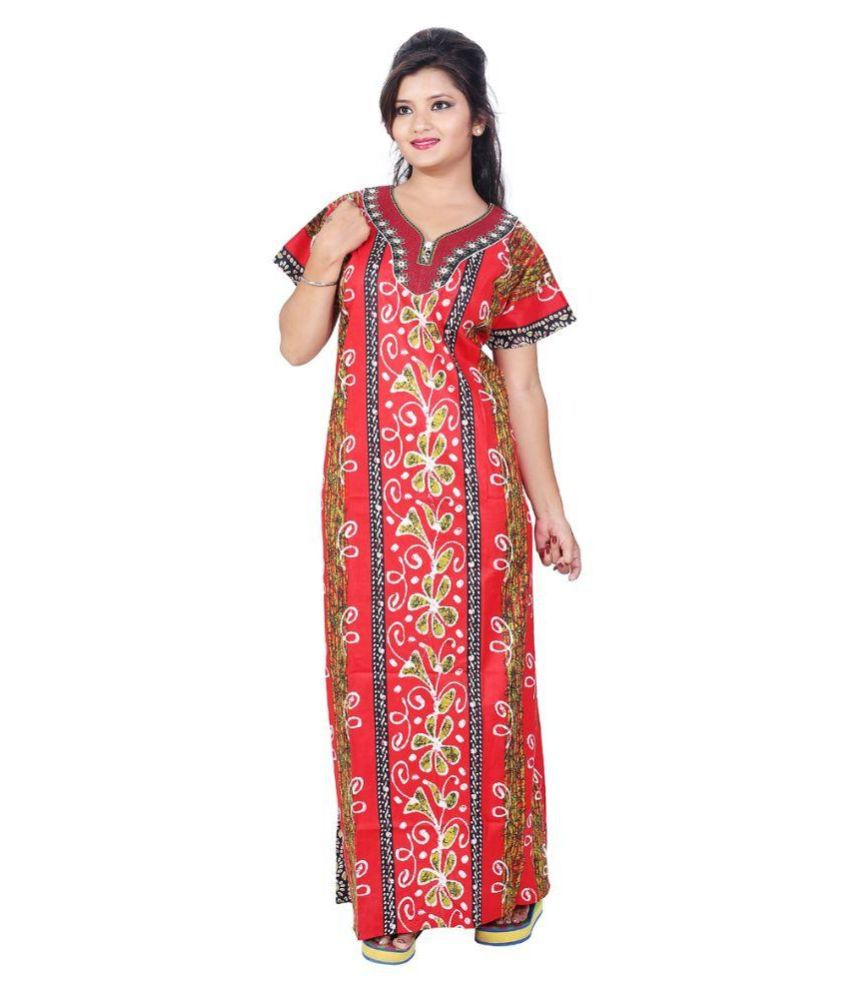 Mahaarani Red Cotton Nighty