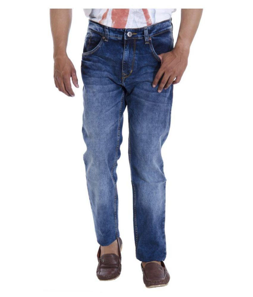 Spykar Blue Regular Fit Washed Jeans