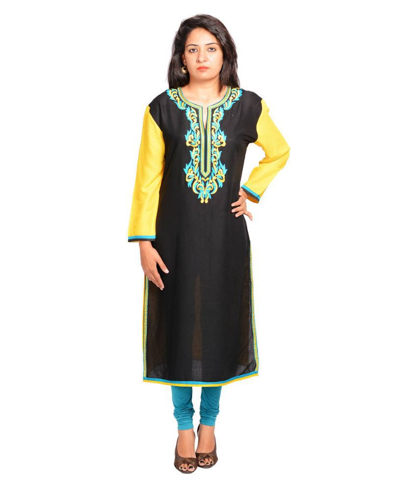 Vasavi Black Cotton Straight Kurti