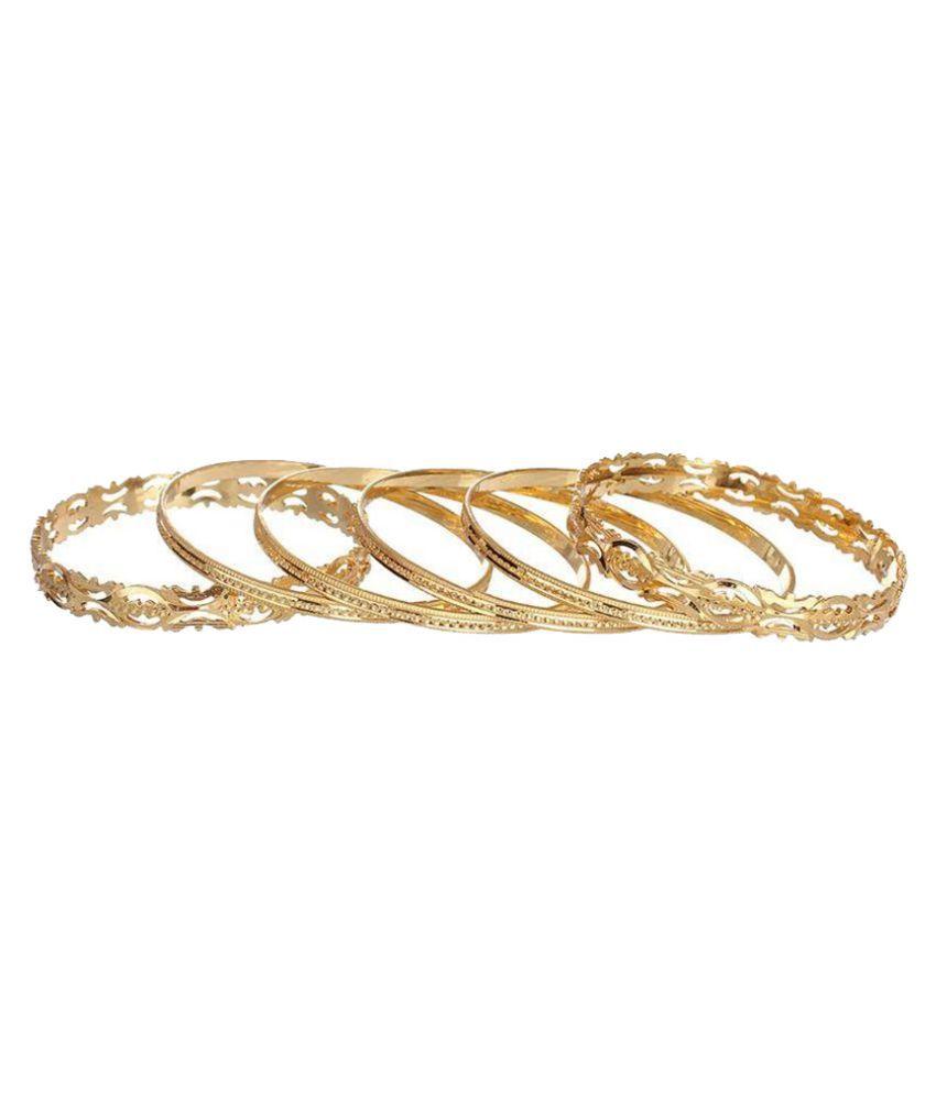 Gunkaya Copper Rhodium Plating Crystal Studded Gold Coloured Bangle Set