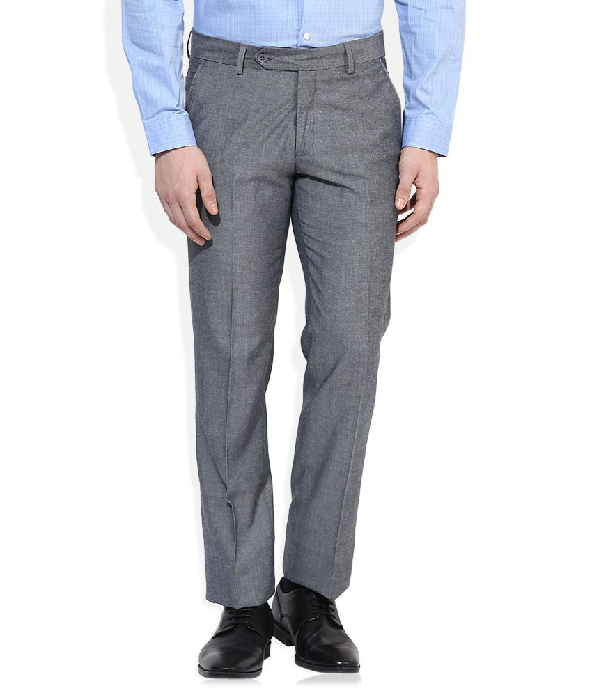 John Players Grey Slim Fit Pleated Trouser