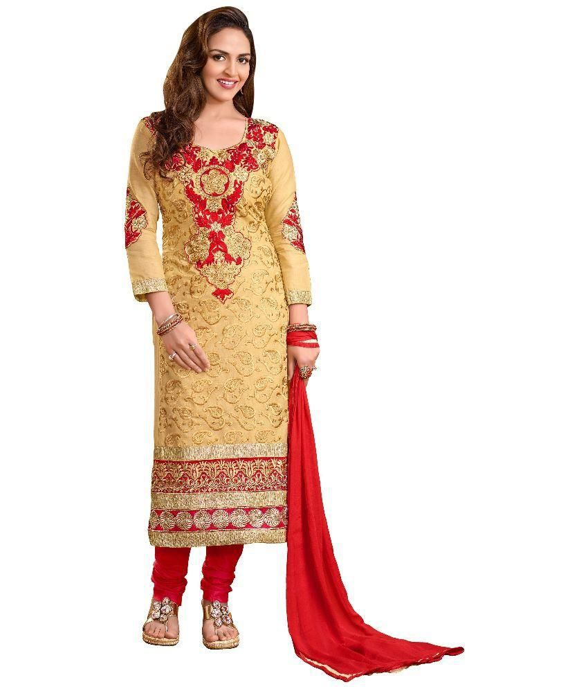 Manvaa Beige Color Straight Fit Semi-Stitched Salwar Suit