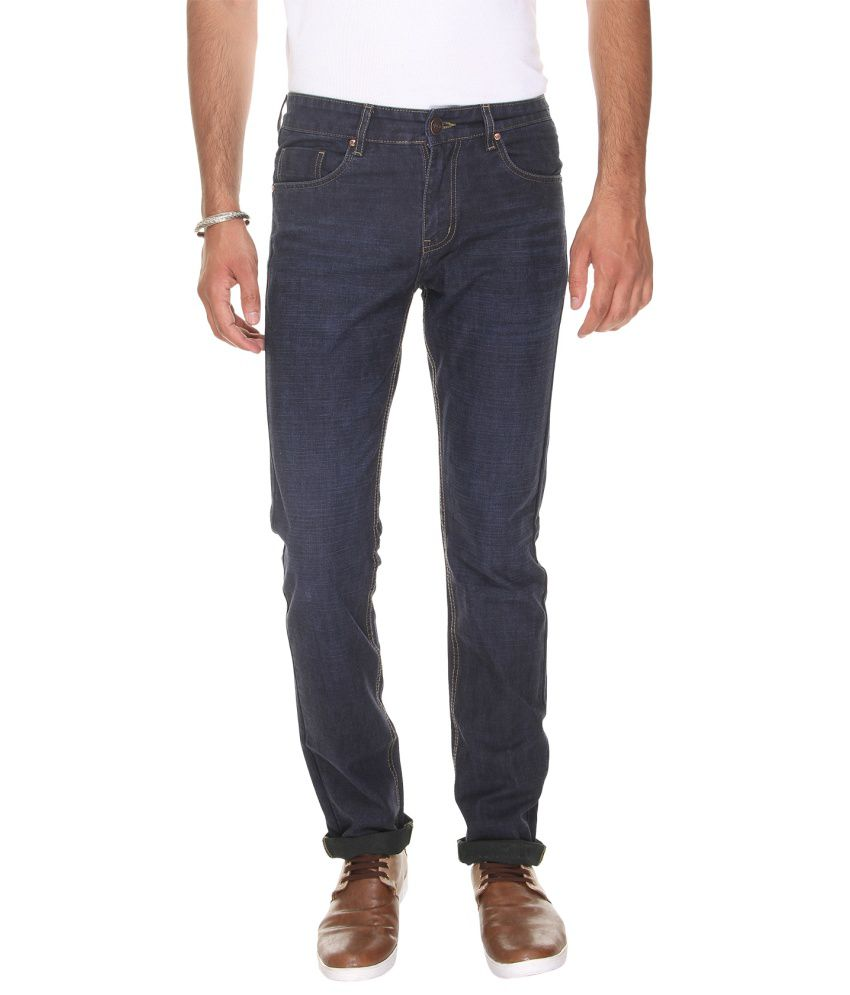 VUDU Navy Slim Fit Solid Jeans