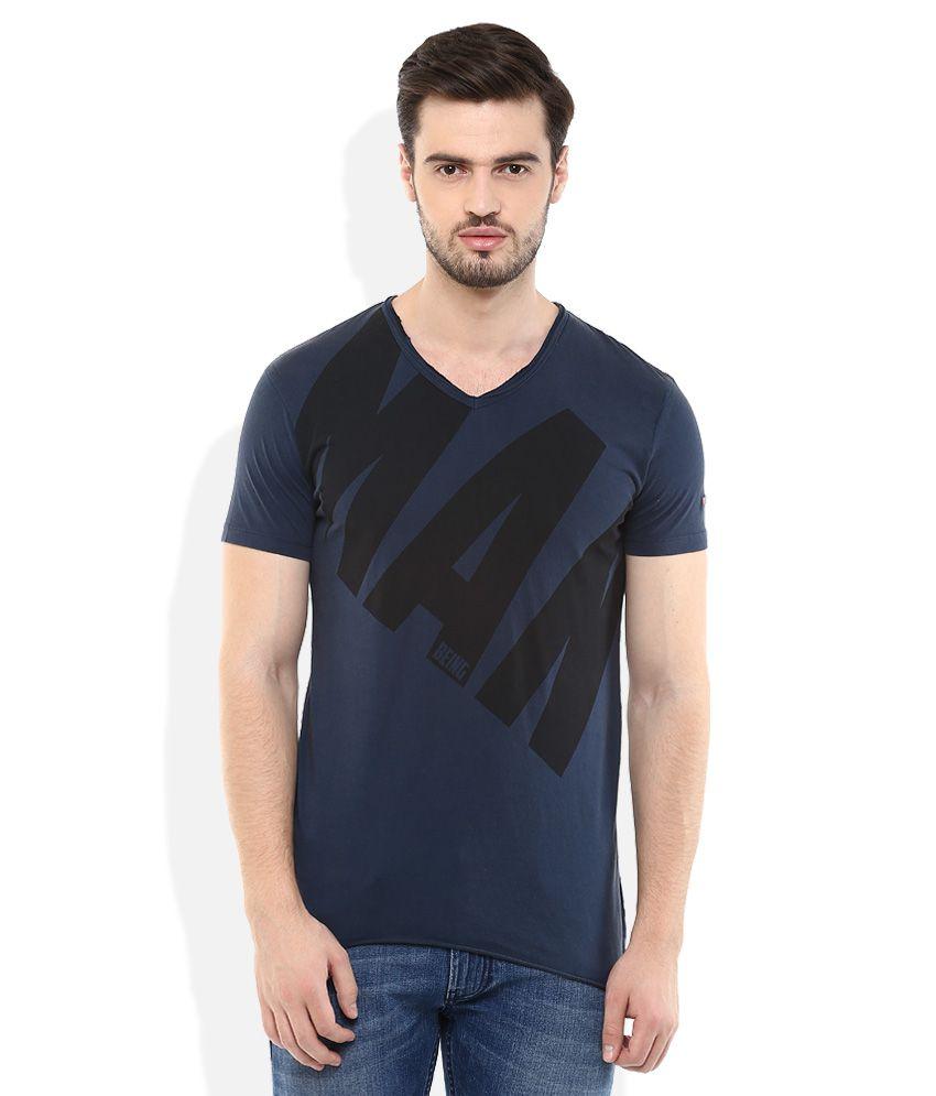 Being Human Navy Half Sleeves Printed T-Shirt