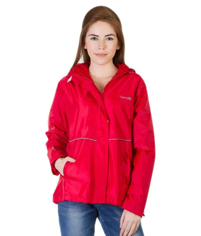 Burdy Pink Waterproof Nylon Short Raincoat