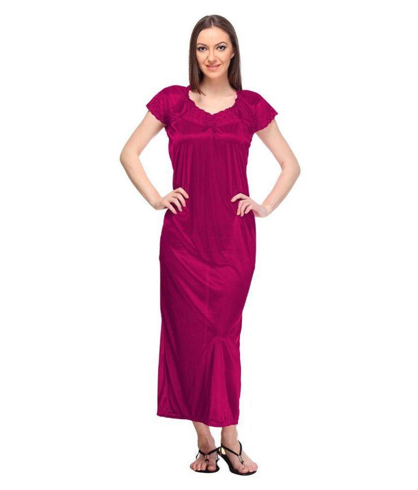 Designeez Pink Satin Nighty & Night Gowns