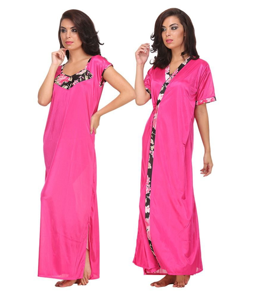 098d42e6f4 Buy Clovia Pink Satin Nighty   Night Gowns Online at Best Prices in India -  Snapdeal