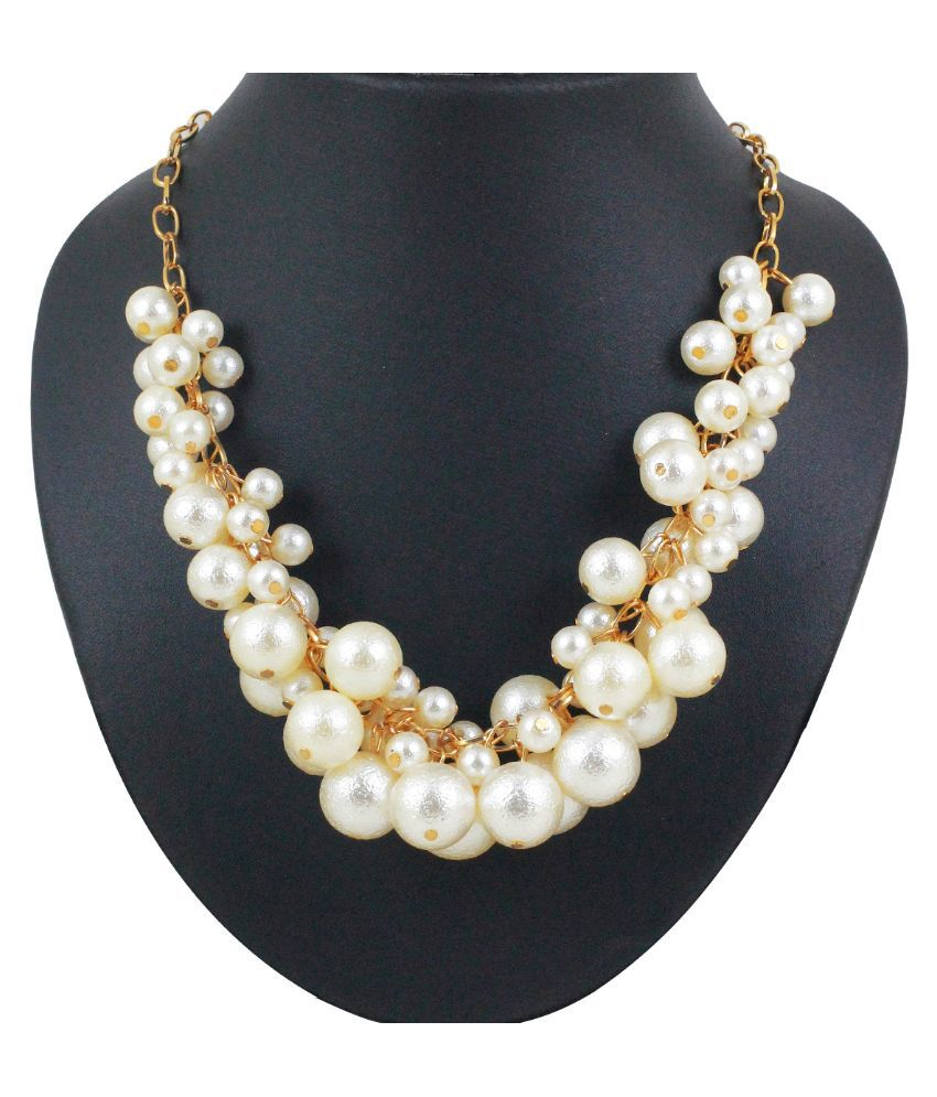 Spargz Alloy Gold Plating Pearls Studded White Coloured Necklace