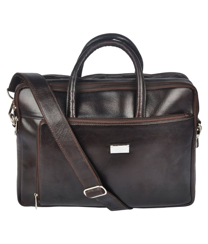 Bluwhale Brown Leather Office Messenger Bag