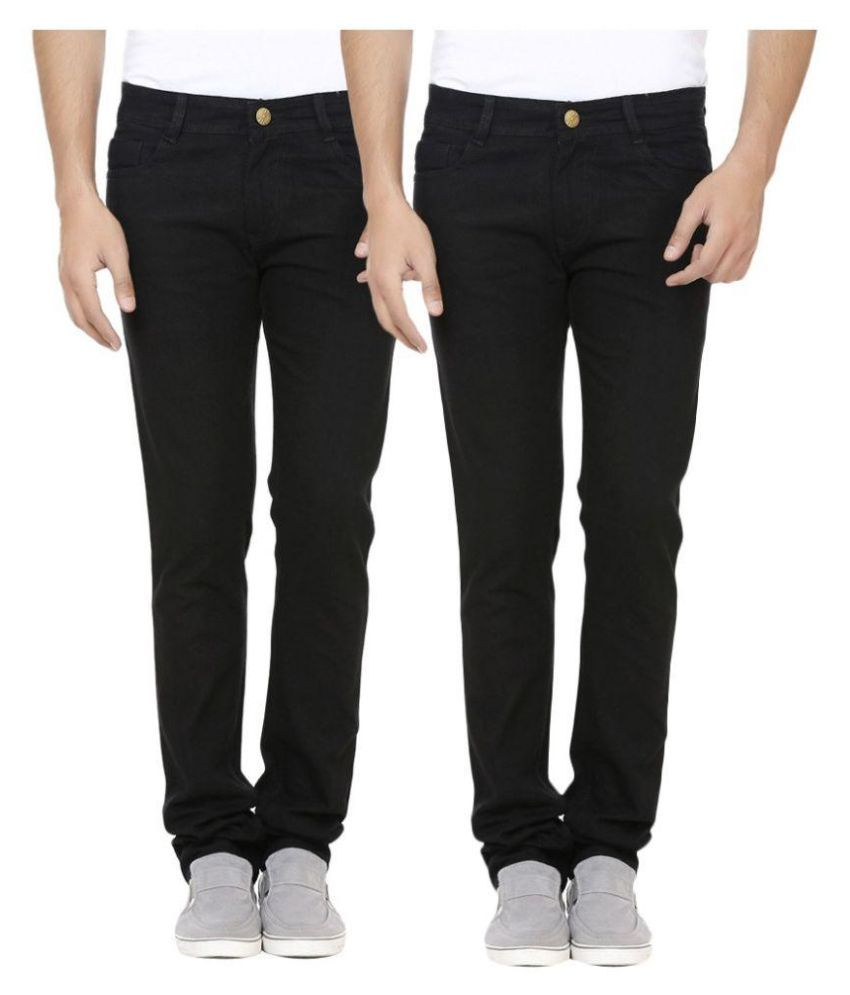Fashion Deck Black Regular Fit Solid Jeans Combo of 2