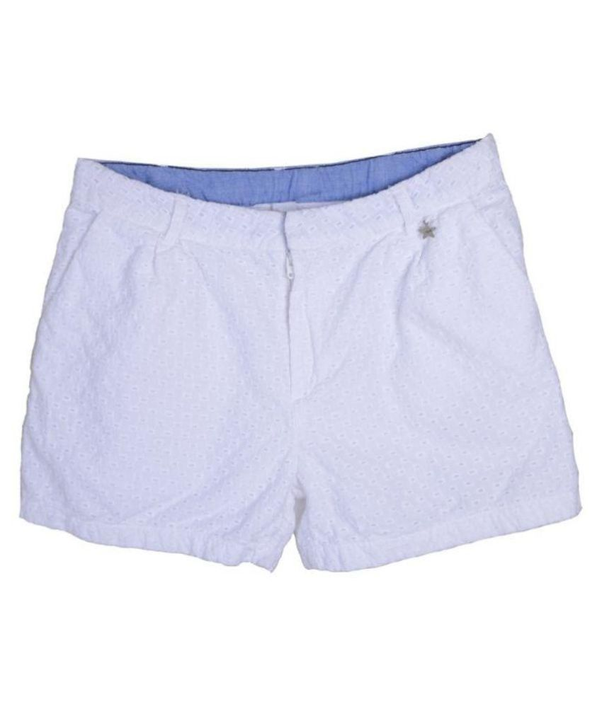 Joy n Fun Eyelet Cotton White Shorts