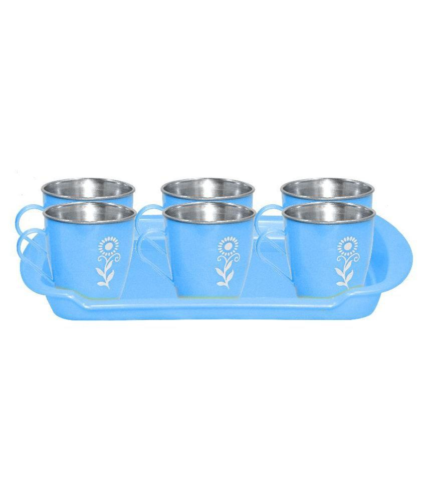 Raj Blue Plastic Cup Set with 1 Tray - Pack of 7