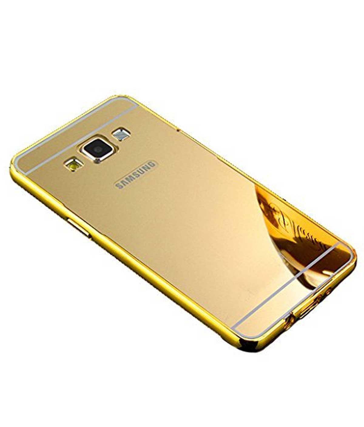 newest 65123 c5bd6 TBZ Metal Bumper Acrylic Mirror Back Cover Case for Samsung Galaxy J7 2016  -Golden