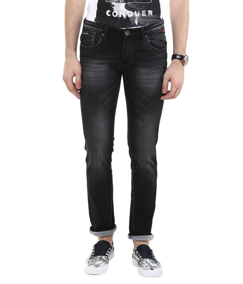 Urban Navy Black Slim Fit Faded Jeans